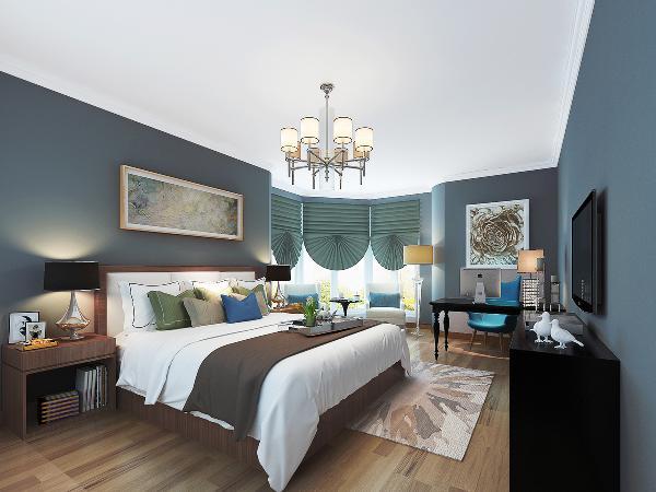 采光优势的主卧室,让我们大胆选用深调书桌与五斗橱,即使家具选色偏深,一样不影响整体搭配的质感。