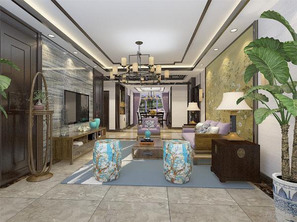 客厅作为待客区域,空间布局合理,用紫色软装搭配墙面的装饰画,使整体看着宽敞明亮颜色搭配分明。墙面采用大理石、挂画、物体装饰,这样使视觉上有代表风格过渡包括屋内的绿植。