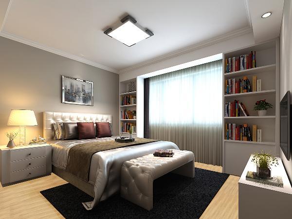 主卧电视墙与床头背景采用了色彩统一花纹不一的壁纸,加上浅色木地板,使得整个卧室更加温暖和温馨。因男女主人都爱好茶艺,在靠近窗户的空间加了一个小榻榻米设计,可以在闲暇时刻喝杯茶。