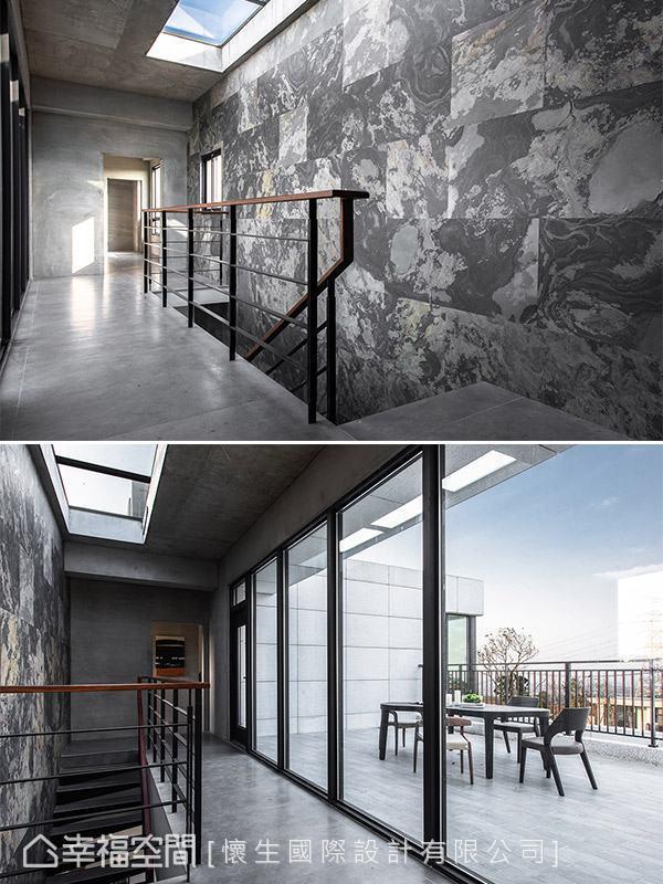 楼梯上方特别开设天井,引入自然光避免梯间过于阴暗。
