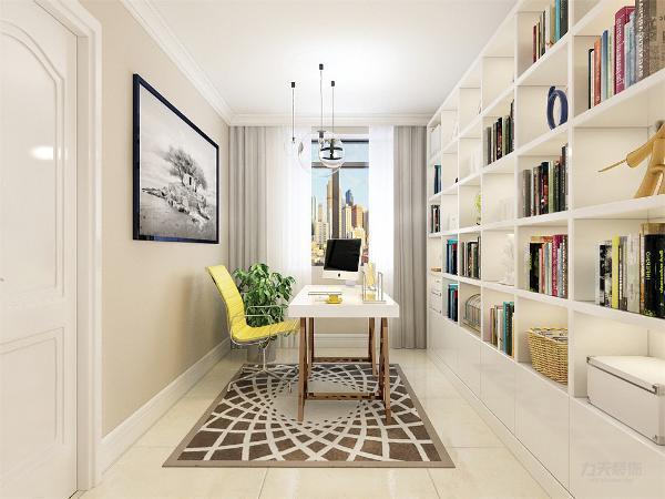 书房采用的是白色的书桌的设计,书架也运用的是白色烤漆,在窗帘的选用上运用的是浅色系。