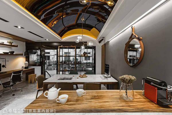 开放式茶水间采吧台形式设计,为员工打造轻松休闲的场域。