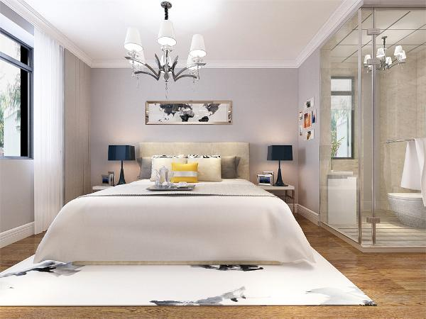 主卧室的设计中,同样我们采用了木色的木地板铺装,地板采用的是实木复合地板具有防滑的功效,卧室打造的是简约风,床头背景墙采用的是挂画装饰