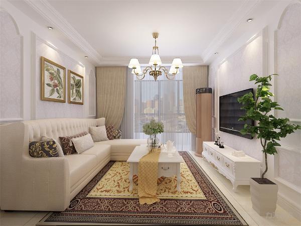 客厅墙面选用欧式中常见的石膏线作为装饰,内贴与餐厅同款的壁纸,顶面回字形吊顶,地面浅黄地砖通铺,客餐厅家具也以白色,乳白色为主,墙面、顶面、家具相呼应。