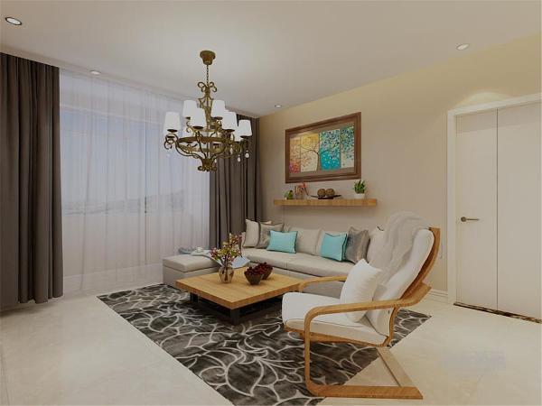 客厅的背景墙只是简的挂了一副挂画加了一个搁板,既简单但又不失品味,沙发选用的是灰色的加上现代感十足的挂画,装饰性强,现代感的金属吊灯,烘托出现代时尚个性的气息