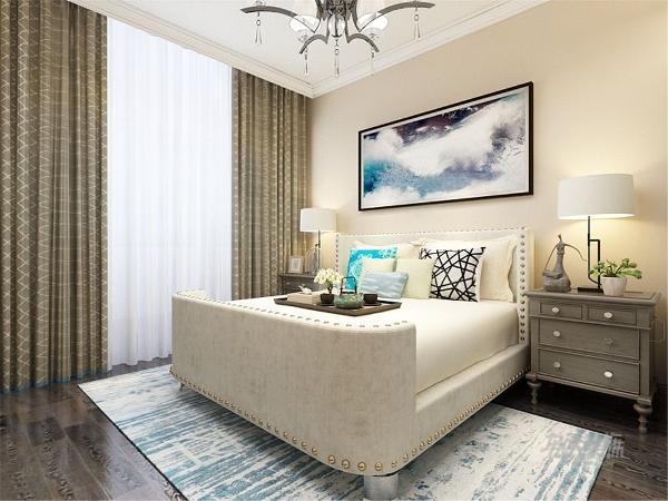 卧室没有过多处理,床的背景只是放了一副大的装饰画,很好的表达整个空间的时尚、个性。摆放了适当的家具和装饰品,整个空间感觉舒适,奢华,更能体现主人的身份与地位