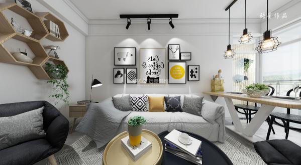 简约北欧装修——客厅360度全景装修图