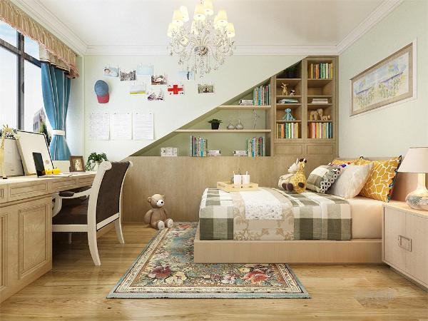 次卧的设计上巧妙地利用了原始房型,做了些简单隔板设计,但效果出众,通过浅绿的乳胶漆和浅木的搭配,营造出了一种别于起他空间的氛围,显的生气盎然。虽是中式但在这个空间却一点也不沉重