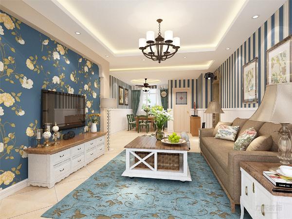 茶几的选择为特点更重的编织的,窗帘的选择为小碎花,使空间更有活力,电视背景墙做了简单的线条造型,贴的花朵造型的壁纸,增加视觉感受