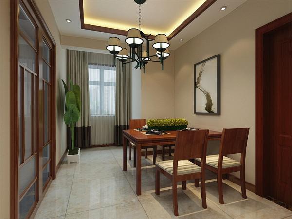 餐桌选为4人餐桌,简单大方。餐厅的吊顶为圆形吊顶,带有灯带,因餐厅背景墙较空,所以做了简易的隔板,可以放些书籍盆栽等