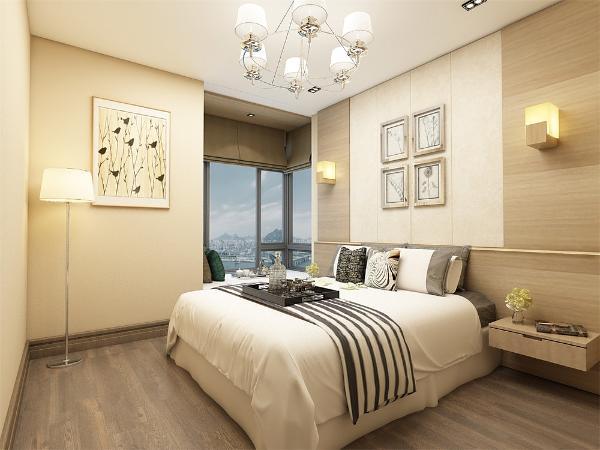 卧室不管是床头柜还是背景墙床上用品都以米黄色为主,更加体现家的温馨,简约而不简单,让业主感觉自己离大自然更进一步。