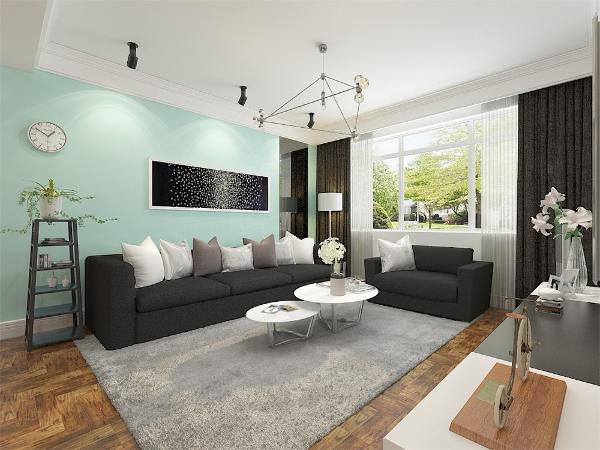 客厅和餐厅公用的墙面选用木纹石铺贴,因为整个空间硬装和软装大部分选用的深色系,所以沙发背景墙选用充满活力的薄荷绿乳胶漆,使整个空间从压抑的氛围中跳出来。