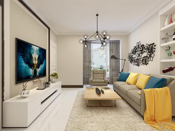 客厅作为待客区域,要明快光鲜,用冷色瓷砖,使整体上有一种宽敞而富有历史气息。墙面顶面采用上下两种颜色,这样使视觉上具有层次感,色彩也更加丰富。