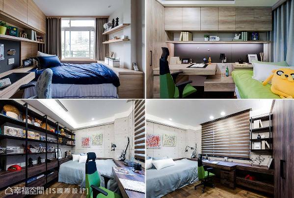 床铺四周和下方形成床台区,拥有丰富收纳机能;家具特别以特殊纹理美耐板打造,不仅耐用且风格自然独特。