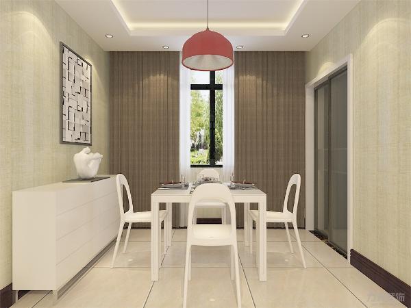 餐厅采用回字形吊顶,有储物柜,整体采用白色调,红色吊灯给整个餐厅点缀,看起来更加舒服