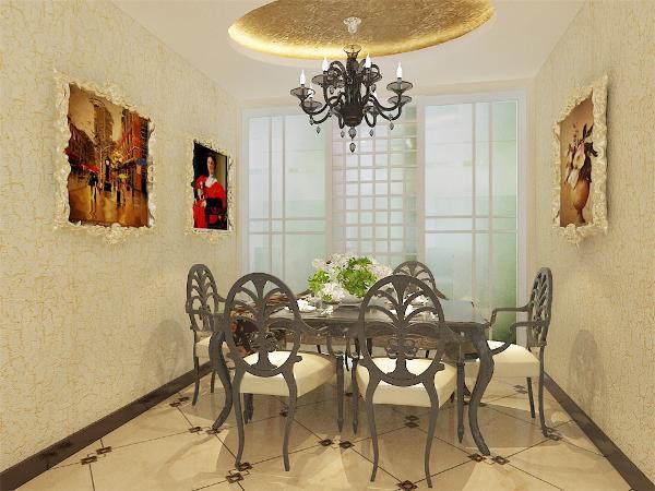 餐厅使用了欧式壁画装饰,餐桌使用了六人的欧式座椅,使用了圆形的吊顶。地面使用了八百乘八百的地砖