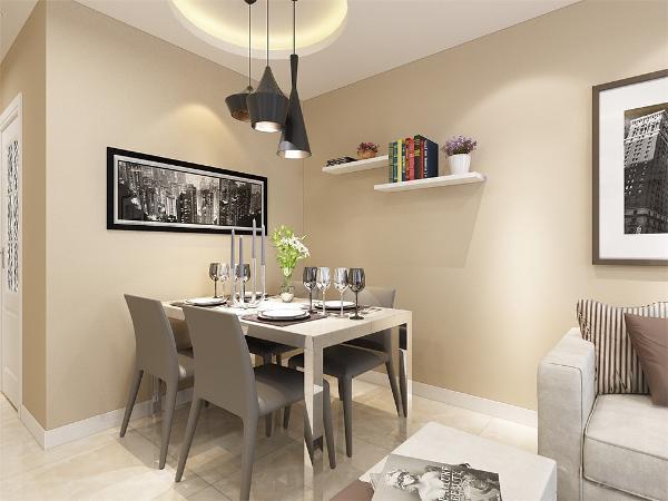 餐桌选为4人餐桌,简单大方,餐厅背景墙较空,所以做了简易的隔板,可以放些书籍盆栽等