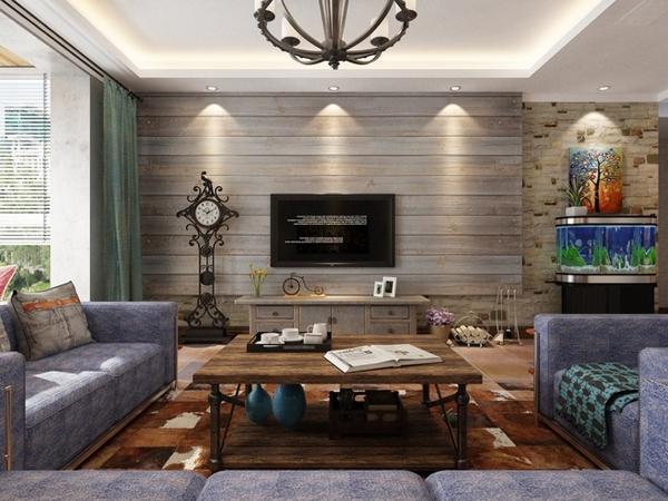 美式简约装修风格,整体给人一种简约大气的气息,没有反复的空间布局,每处都格外的干净利落,而且现代实用。无论是房顶的吊灯,还是脚下的地板,没有琐碎多余的设计,表面光滑柔和,让人感觉温暖而舒适