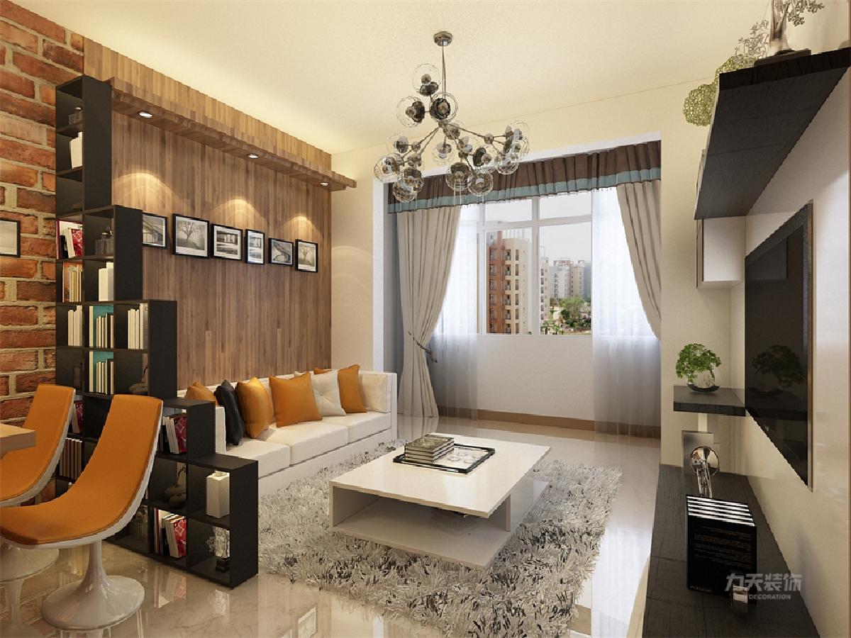 客厅电视背景墙除了电视柜还有储物柜,沙发背景墙做了区分,材质上沙发背景墙用木板做装饰,客厅之间做了一个阶梯式置物架不但可以区分空间也不遮挡光线