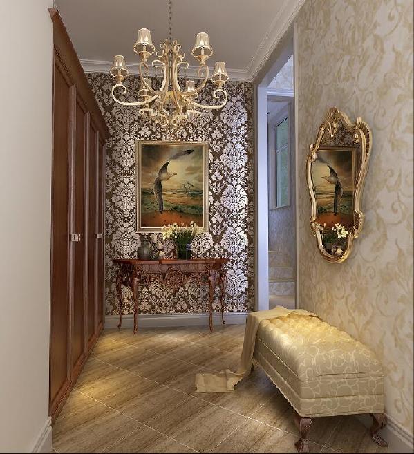 赋予古典美感的窗帘和地毯、造型古朴的吊灯使整个空间看起来赋予韵律感且大方典雅
