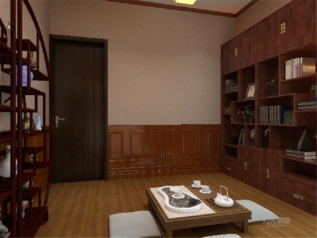 此卧室设置为一件茶室或接待室而且也有书架的摆设也可作为书房实用。