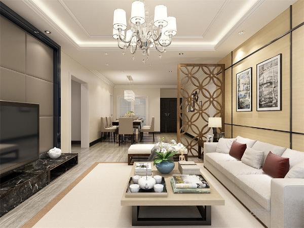 客厅采用简单的装修风格沙发后面设置了一个照片墙,电视背景墙采用软包的装饰给客厅感觉柔和的感觉