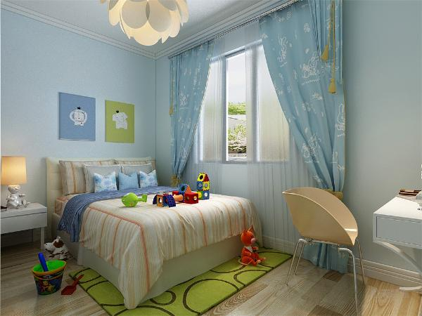 卧室的设计依然是以简单的造型为主,床的背景墙以一副现代画为衬托,有层次有立体感。地毯的色彩与房间相呼应上下一体。