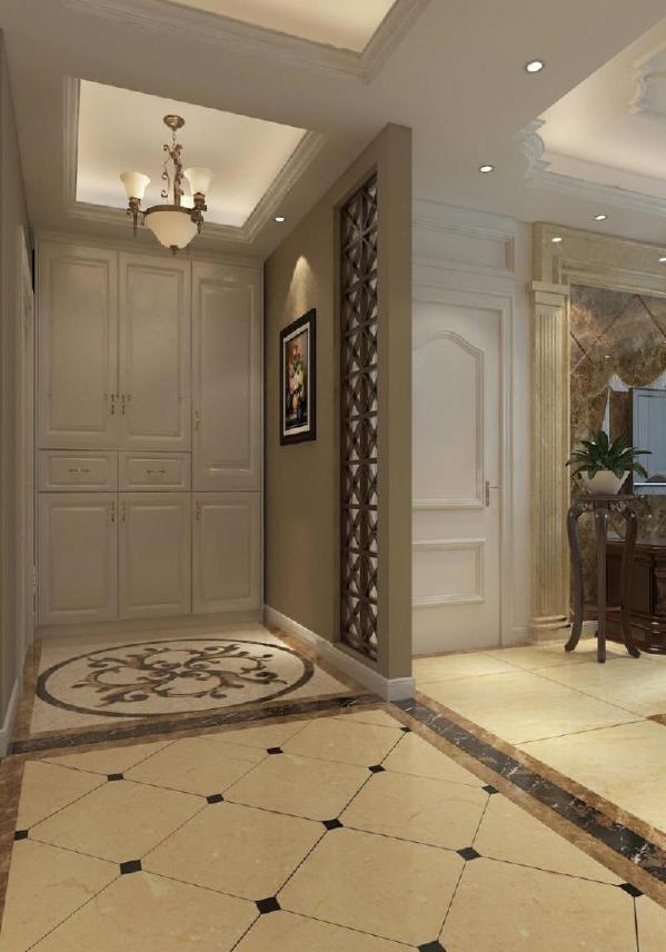 入户门厅,通顶的鞋帽柜,使用美观。美式的花格,既美观又有遮挡隐私的功能。