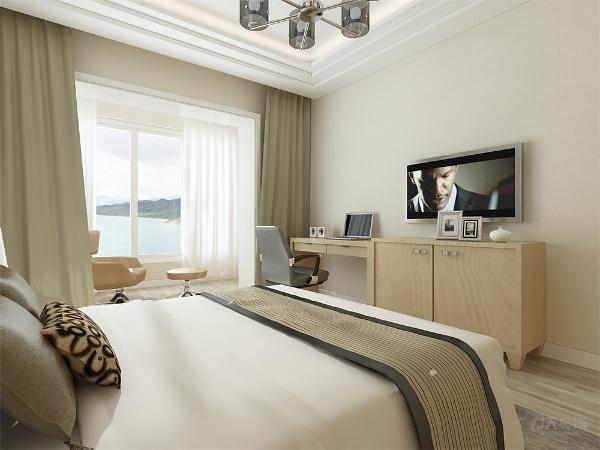 卧室中有电视的设置总体风格简单朴素没有什么特殊的装饰总体感觉温馨大方