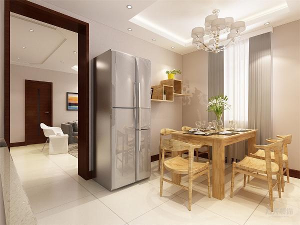 餐厅木色的餐桌、餐椅,以及墙上的隔板装饰,使整个餐厅充满生机,回归自然。