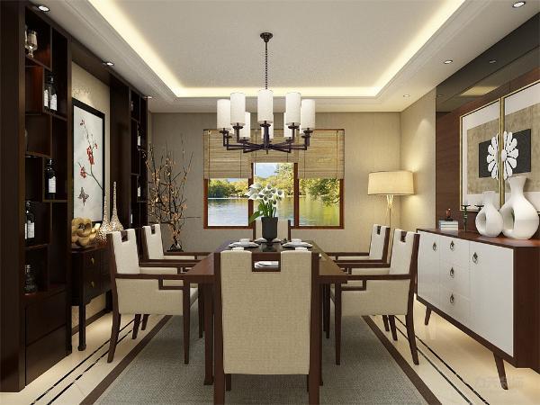 餐厅设计,非常简约没有过多装饰,用白色装饰画拉开层次,用绿色植被为餐厅增添色彩,餐桌和椅子用白棕颜色结合,让餐厅色彩更丰富,不沉闷。