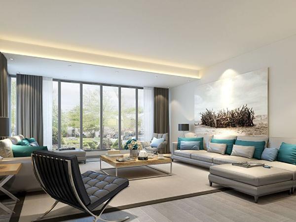 在空间设计、材料、色彩搭配、家具饰品陈设上都有中式装饰色彩、元素与现代色彩、元素的碰撞相融合