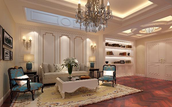 二层起居室思路,从一层客厅白色的高贵典雅过渡到二层起居室米色的典雅温馨,入口处圆形架势吊顶到米色金边护壁,配以相同格调的沙发,深咖色纹理地板,暖色调的羊毛地毯,给人以温馨、典雅、舒适、安静的氛围。