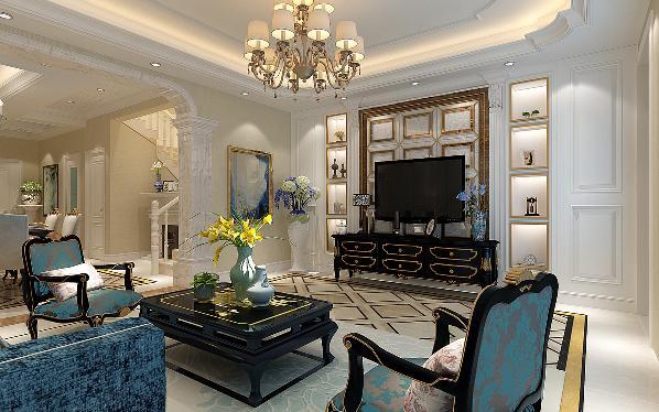 客厅装修运用了大量的白色来打造,罗马柱的的弧度垭口、大理石黑变白色方形拼花,使得客厅更加华丽精巧的贵族气质,深色的金边家具搭配浅色系的地毯,让整个空间的层次感更明确,整体呈现出高贵、优雅来。