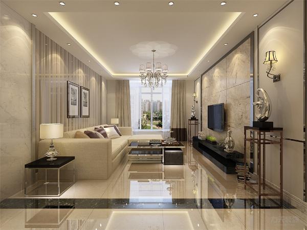 客厅内地面选择800*800的抛釉砖,各个空间内用黑色大理石做分割,电视背景墙用黑色不锈钢做框内镶嵌大理石做造型,沙发背景墙用大理石和贴有条状做装饰的镜面不锈钢,电视柜、茶几选择黑色沙发则选用乳白色