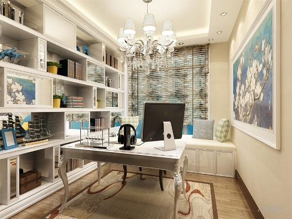 书房做整面书架墙,窗户处做储物矮柜,上面做软包垫,也可做休息用。