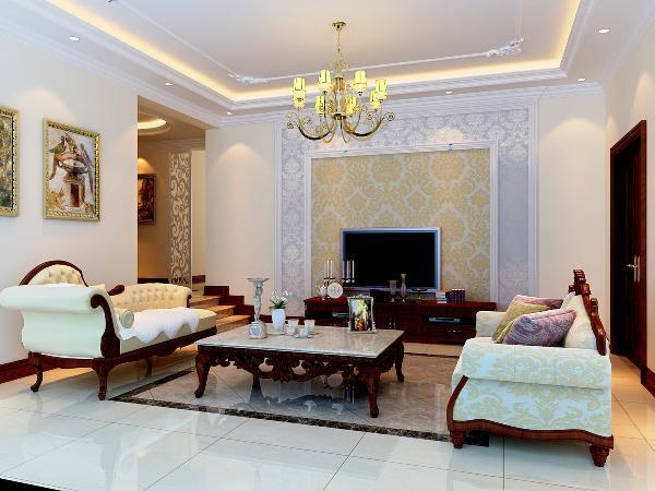 客厅设计采用整体白色调为主,以石膏板、淡啡色墙纸打造电视背景墙,地面采用大理石拼花,优雅大气。顶面石膏板吊顶以及石膏线圈边,笔直简约的线条同样能勾勒出豪华时尚的气息