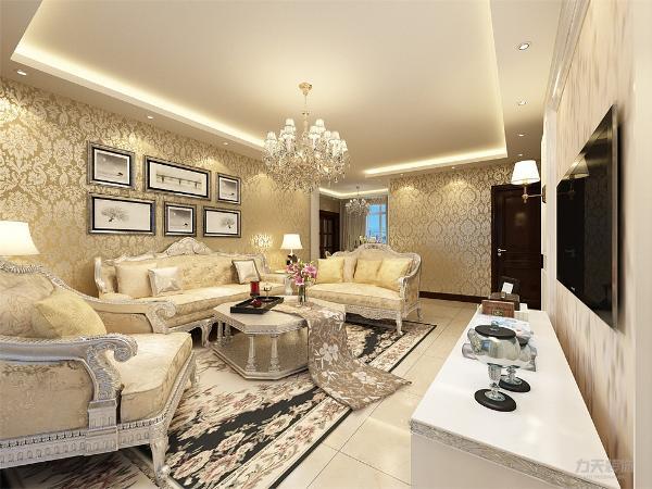 客厅来说,地面采用淡黄色800*800地砖,顶面是与玄关处和餐厅一起做轻钢龙骨石膏板吊顶,墙面贴香槟金色大马士革反光壁纸,电视背景墙为白色烤漆造型