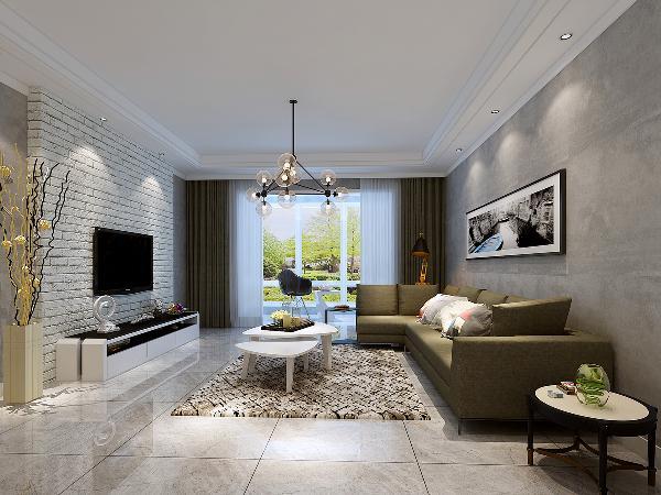 这是客厅的效果图。整体以灰色调为主。地面采用灰色的大规格釉面砖铺贴,看上去高端大气。沙发背景墙则铺贴防水泥效果的壁纸,与地面色彩相呼应,同时又增加了现代感觉。