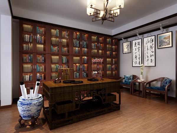 原本设立在北侧的书房,由于光线不足、空间较小的原因,被改成次卧二作为客房,而将南侧的卧室之一改造成了书房,宽阔的空间以及明亮的光线,完全满足创作时所需的宽阔心境,以及画作展示的光线需求。