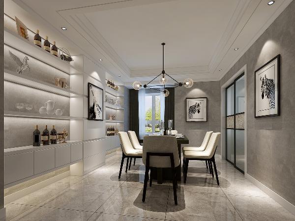 这是餐厅区域的效果图。墙顶地的材质及造型都分别同于客厅,这样使公共区域的效果统一,同时又增加了空间的通透感。现代风格的餐桌椅配上一整面墙的白色混油定制酒柜,使整个餐厅看上去是那么的高端大气