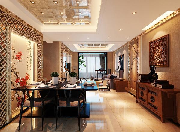 餐区的背景墙取用梅花作为整个的中心,现代的车刻镜边框与玄关柜上悬挂的中式雕纹花格相互呼应,古朴大气的玄关柜增加了空间的韵味
