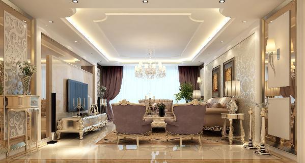 客厅一个大型的落地窗,搭配以透明的纱帘,在开阔视野的同时可略去强烈的阳光,使得大厅显得明亮典雅。华美大气的水晶吊灯暖色的光芒营造自然温馨的氛围,搭配时尚不失典雅的全套欧式家具尽显简约奢华之气