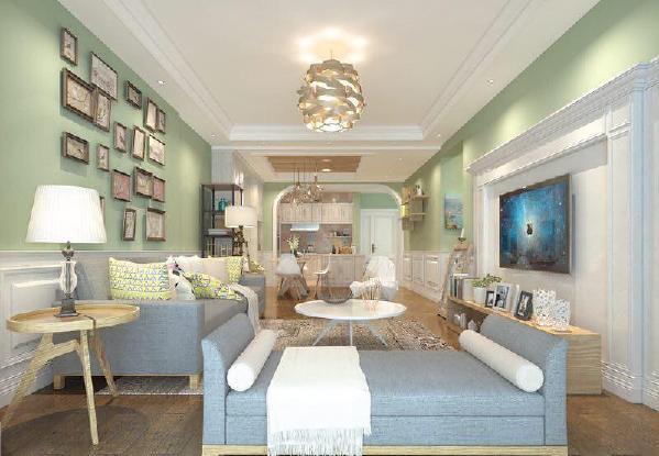星艺装饰_瑞家U品花果园三居室109m²现代田园风格客厅装修案例