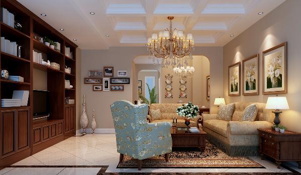 简洁的客厅,在选材上,地面使用简洁清爽的白色地砖,深色波打线并使用两种铺设方法,使地面拥有大量的线条。顶面采用九宫格吊顶。欧式沙发,纯洁的水晶吊灯营造出奢华、温暖的家庭气氛。