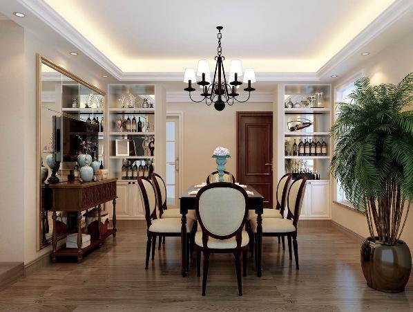 此空间展示的是餐厅区域。实木方形餐桌,配上古典的餐边柜,白色的柜体配上白色椅面,与整个空间的相互映衬,极具个性化的吊灯点缀出活泼灵动的空间环境,敞亮的空间营造出了很舒适的用餐环境。