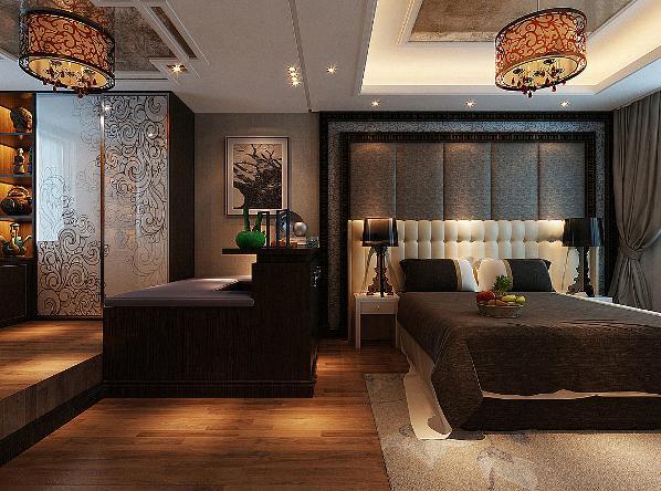 棕色的床品和休闲椅颜色一致,让整个空间看起来更为整体,红木色的衣帽间摆放一些收藏品提升了主人的生活品味,硬包的木纹背景墙,百合花图案的地毯以及典型新中式的吊灯,无处不体现着新中式风格
