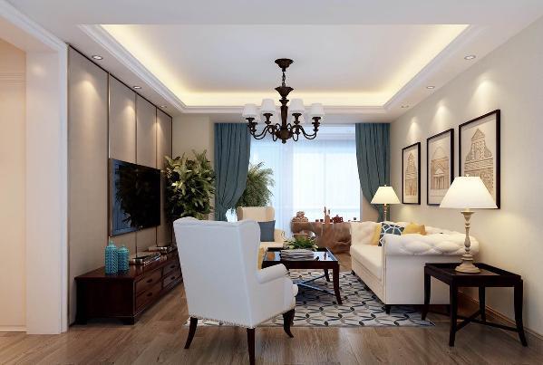 该空间是客厅区域,整体以简单,大方为主,地面铺设浅色系的木地板,顶面做以简单跌级吊顶,内设灯带反衬空间,采用古色系吊灯,自然中不失优雅,家具以白色的沙发和深色实木桌子为主色调。