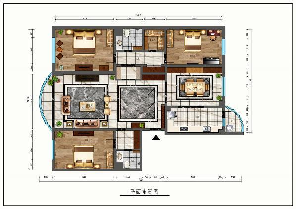 北京丰汇园小区168平米中式风格装修效果图---太原业之峰