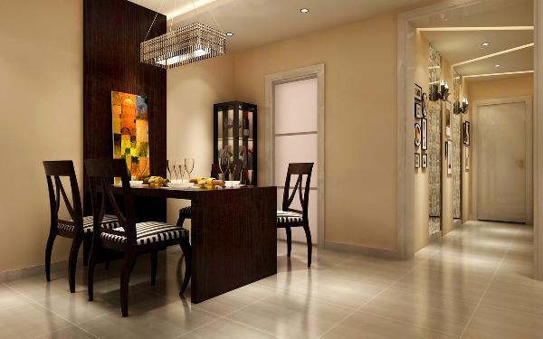 餐厅区域做了吊顶来区分两个空间,餐厅增加了一些辅助光源,而客厅则是以明装筒灯、落地灯和主灯作为主要光源,这样就更加明显的区分开了两个空间的功能性。